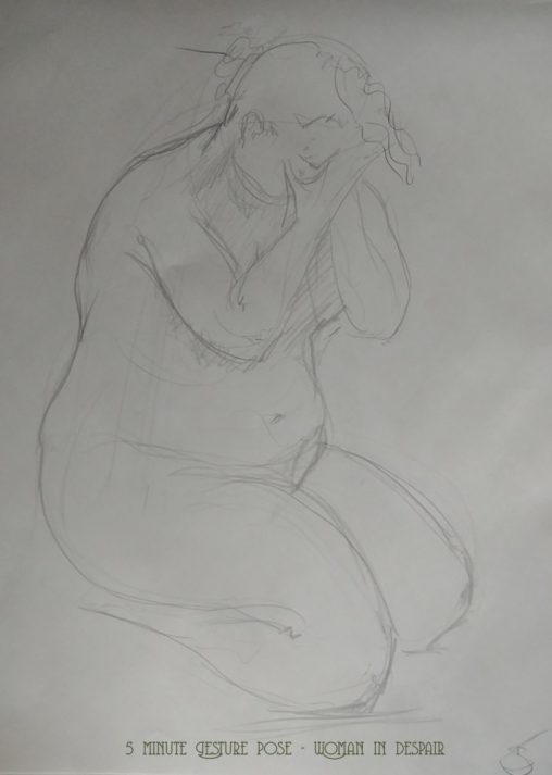 life drawing 5 minute Gesture pose - Woman in despair