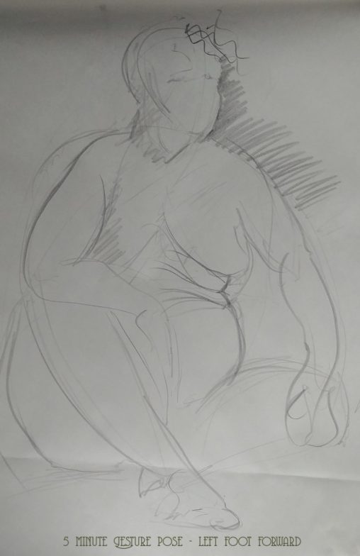 Life Drawing 5 minute Gesture pose - left foot forward