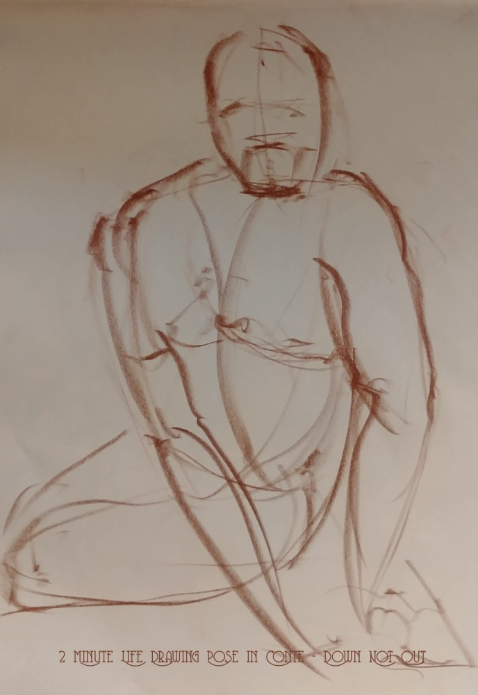 Life Drawing - 2 Minute Life Drawing Pose in Conte - Down Not Out