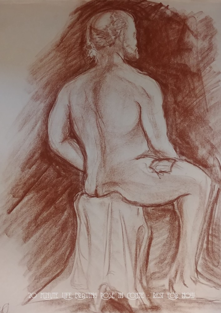 Life Drawing 2 - 20 Minute Life Drawing Pose in Conte - Rest For Now