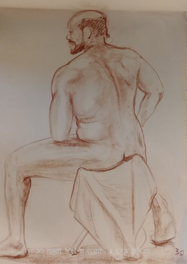 Life Drawing - 30 Minute Pose in Conte - A Look Beyond