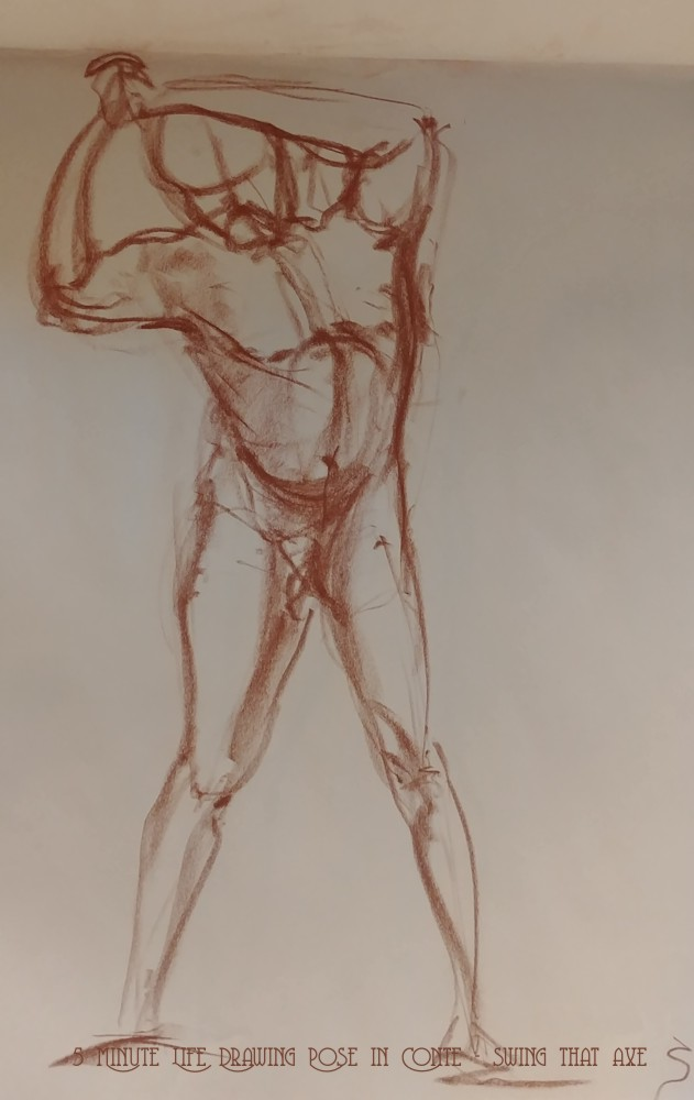 Life Drawing - 5 Minute Life Drawing Pose in Conte - Walking Away