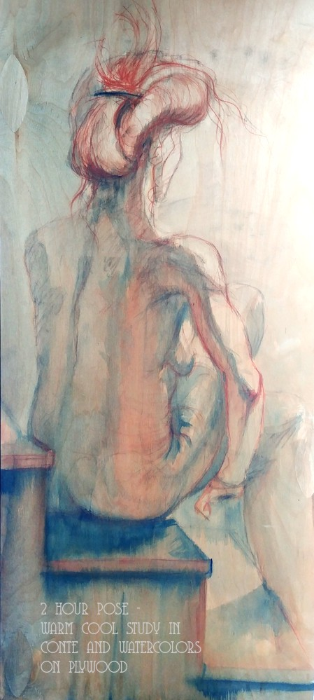 2 hour pose - warm cool study in conte and watercolors on plywood 3