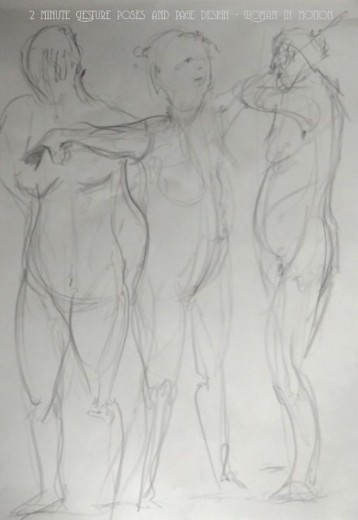 Live drawing 2 minute Gesture poses and page design - Woman in motion