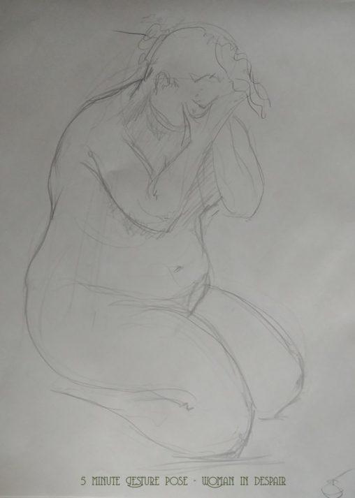 life drawing 5 minute Gesture pose - Woman in despair